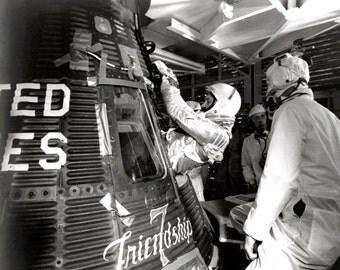 Astronaut John Glenn Enters Friendship 7 for Launch - 5X7, 8X10 or 11X14 NASA Photo (EP-203)