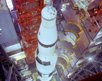 Overhead View of the Saturn V Rocket for Apollo 4 in the Vehicle Assembly Building - 5X7, 8X10 or 11X14 Photo (EP-421)