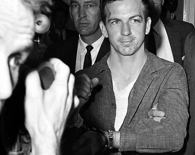 Lee Harvey Oswald at Dallas Police Headquarters on November 22, 1963 - 5X7, 8X10 or 11X14 Photo (AZ032)