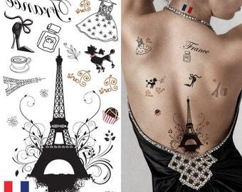 Supperb® Temporary Tattoos - I Love Paris, France Eiffel Tower