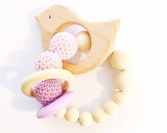 Natural wooden teether/rattle