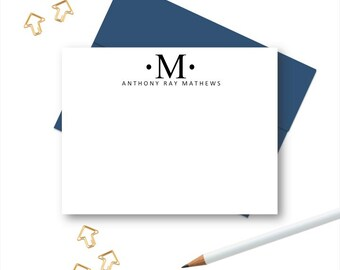 Mens Personalized Initial Stationery , Personalized Note Cards, Stationery for Men, Personalized Stationary sets, Custom Notecards