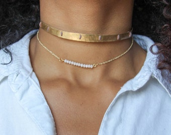 Gold Choker | Hammered Brass Choker | Layer Choker