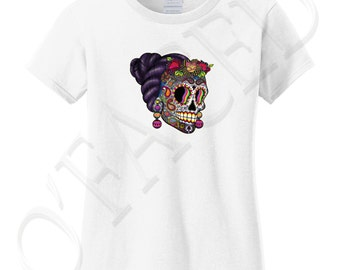 Day of Dead Skull Cotton Tshirt for Woman Day of Dead Skull Ladies T-shirt Funny Woman Skeleton Women's Tee - 1334C_GLTS