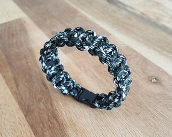 Bracelet color Paracord black-white-khaki braiding cobra / survival Bracelet / gift man / gift / accessory hiking camping