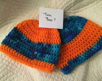 Hats for multiples. Twins. Triplets. Quadruplets.