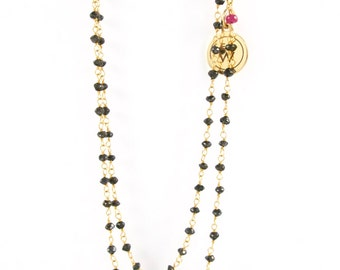 Black diamond wire-wrapped necklace