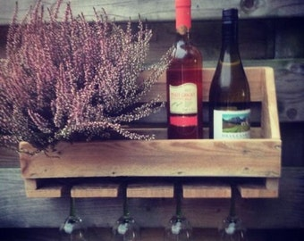 Handmade wine rack from scrap wood/pallet wood.