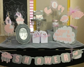 Rain shower Baby Shower/mini diaper cake/ party favors/baby shower sign/candy jar tags/ centerpieces