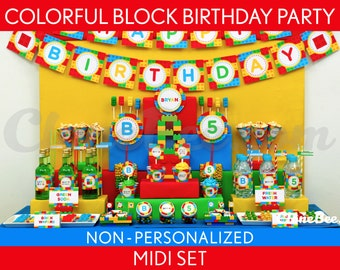 Colorful Blocks Birthday Party Package Collection Set Midi NonPersonalized Printable // Colorful Blocks - B22Nz2