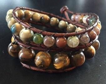 Multicolor Earthtone beaded wrap bracelet