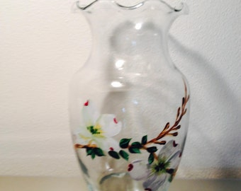 Hand painted vase with dogwood blossoms