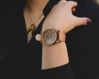 Pink Nogal, Pink Oak Wood Watch, Handmade Wooden Watch, Laser Cut, Laser Cut Wood, Jewelry, Jewelry Wood, Women's Watches, Men's Watches