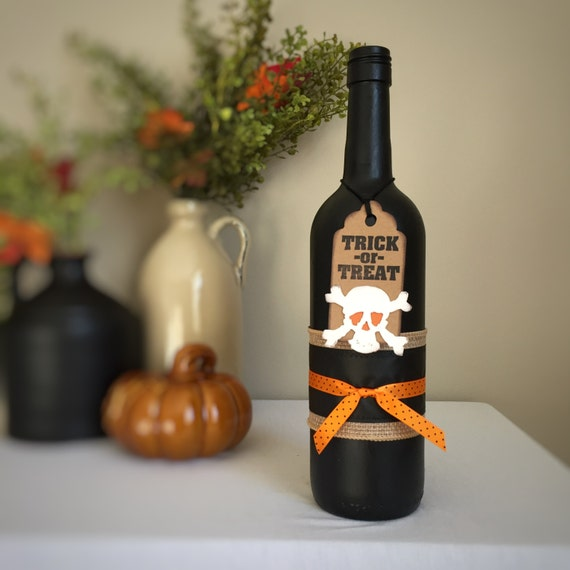 Trick-or-Treat Halloween Decor/Halloween Party Decoration/Fall Decor/Autumn Decor/Seasonal Decor/Bar Decoration/Wine Bottle/Recycled Bottle