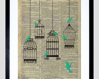 Upcycle Dictionary Birdcage Birds Framed Art Print Poster F12X10551