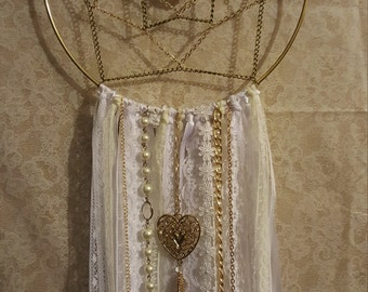 Dreamcatcher with chain and lace.