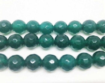 """1 Strand 8mm Green Jade Faceted Beads, wholesale beads, natural beads, diamond cut beads, 15 1/2""""length,Faceted beads"""