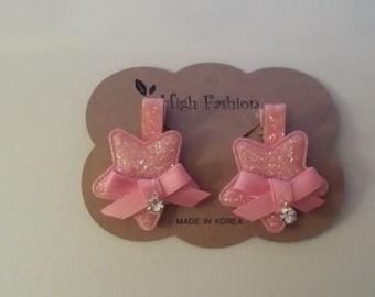 Star Hairclip, Pink Set, Diamond, Pendant, Kids, Fashion, Handmade