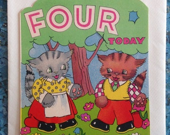 Vintage child's 4th birthday card kittens cats Mia Cards