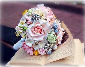 Boho Bridal bouquet, cold porcelain, bouquet of peonies, freesia bouquet, bouquet clay, wedding flowers, polymer clay, bouquet