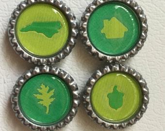Green Raleigh NC Magnet Set