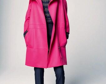 Pink 100% wool fabric  / Toile de laine très finement sergée rose Nina R. Haute Couture