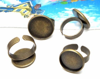 20pcs Antique Bronze Ring Blanks  Ring Bezels Cabochon Settings Fits 12-20mm Cabochons