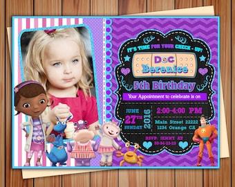 Doc McStuffins party invitation, Doc McStuffins party digital chalkboard invitation, Doc McStuffins invitation, Thank you card free!