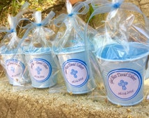 12 recuerdos de bautismo/ baptism favors. mini bucket (metal) favors for baby boy with round sticker