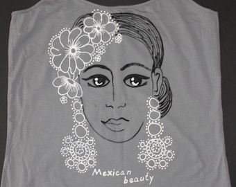 hand painted shirt,painted shirt,gray shirt,grey tshirt,mexican art,mexican folk art,mexican shirt,mexican cloth,mexican gift,gift for her