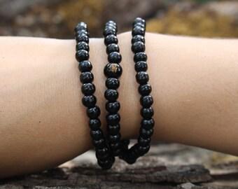 Black Sandalwood 108 Mala Beads on Elastic