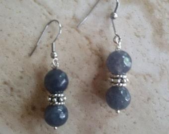 gemstone earrings earwires stainless steel and gray