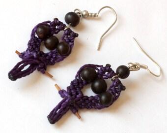 Hand Tatted Parrot Earrings, Purple Bird Jewelry, Fair Trade Purple Owl Earrings, Made in Nicaragua