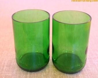 Set of Eco Friendly St. Pellegrino bottle Glasses / Recycled Green Tumblers