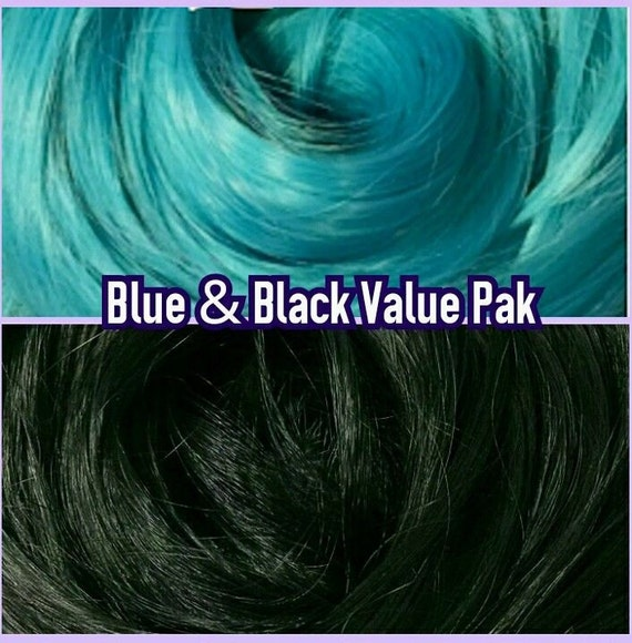 Black & Turquoise Blue XL 4oz 2 Color Value Pak Nylon Doll Hair Hanks Rerooting Monster High Ever After Barbie My Little Pony Crissy Sindy