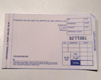 Manual Credit Card Slips 2 Part x 50slips