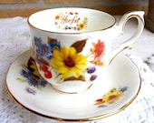 Autumn Flowers Teacup and saucer, Duchess Fine Bone China, Made in England perfect for Vintage Garden Party or English High tea party