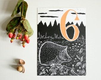 Happy Birthday postcard hedgehog, children, forest animal illustration, scratchboard, sixth birthday, greeting card, black, six