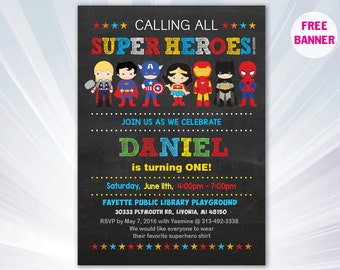 Super hero invitation - superhero birthday party - boy girl invitation - birthday invitation- personalized - printable superhero invitation