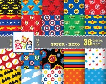 Superhero scrapbook background  Digital Scrapbook Paper, background, Digital Background, pattern paper Super hero background