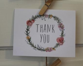 Floral Wreath Thank You Card Set