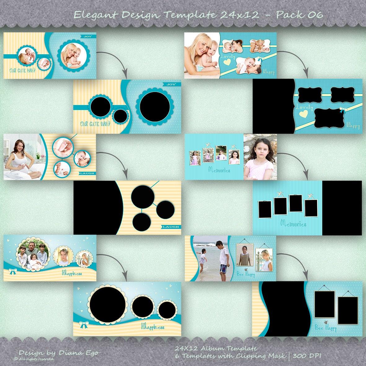 24x12 photo album template pack 6 templates photo collage yearbook templates photoshop. Black Bedroom Furniture Sets. Home Design Ideas