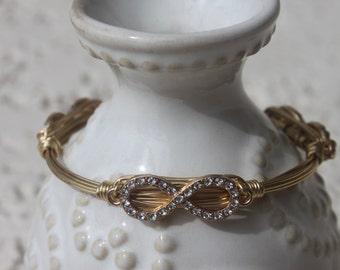 Infinity Bangle,  Wire wrapped bangle,  Crystal Infinity bracelet