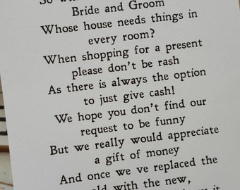 Wedding Money Poem x 50