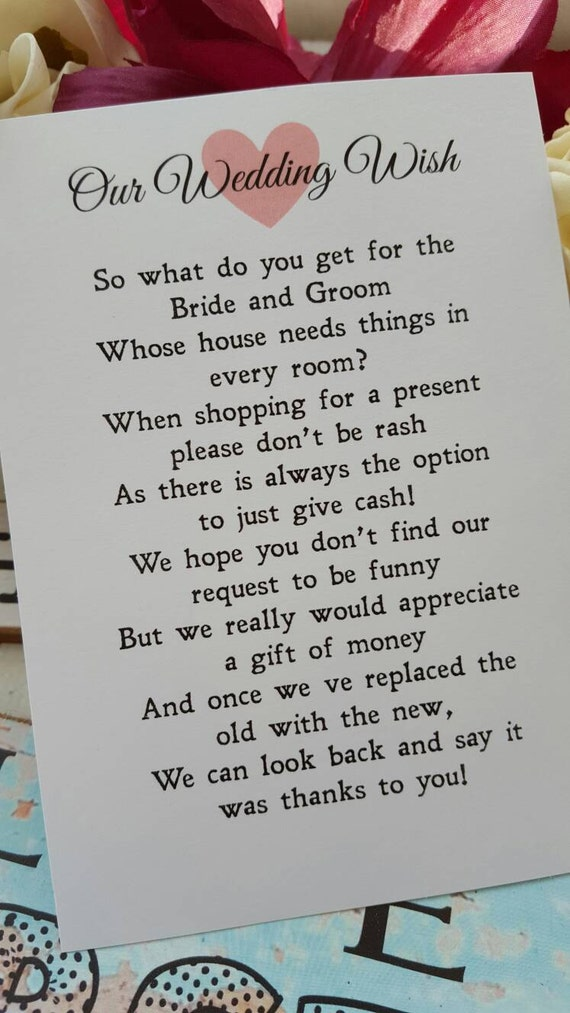Wedding Money Gift Quotes : Wedding Money Poem 50