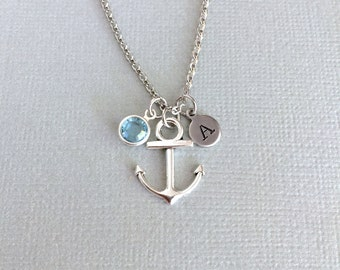 Personalized Anchor Necklace, Navy Wife Gift, Initial Disc, Anchor Charm, Birthstone Necklace, Good Luck, Nautical Jewelry