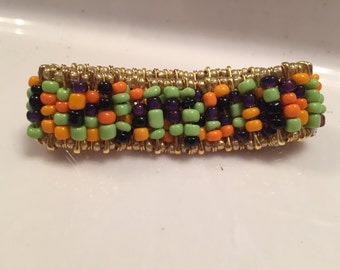 Halloween beaded safety pin bracelet
