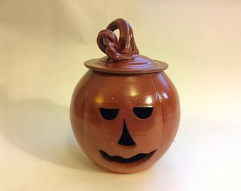 Pottery pumpkin, pottery jack-o-lantern, stoneware pumpkin, Halloween pumpkin, Orange pumpkin, stoneware jack-o-lantern, wheelthrown pumpkin