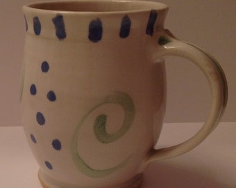 Wheel thrown pottery mug, 16 ounce mug, purple, green, and white mug, stoneware mug, coffee mug, tea mug