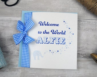 New Baby Card for Baby Boy Personalised with Name